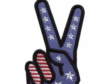 American Flag Peace Sign Iron On Patch 3 x 1.5 inch Free Shipping