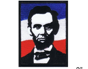 "Abe Lincoln Iron On Patch 3"" x 2 1/2"" Free Shipping by Dave Cherry 4755"