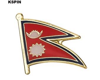 Nepal Flag Lapel Pin 19 x 16mm Hat Tie Tack Badge Pin
