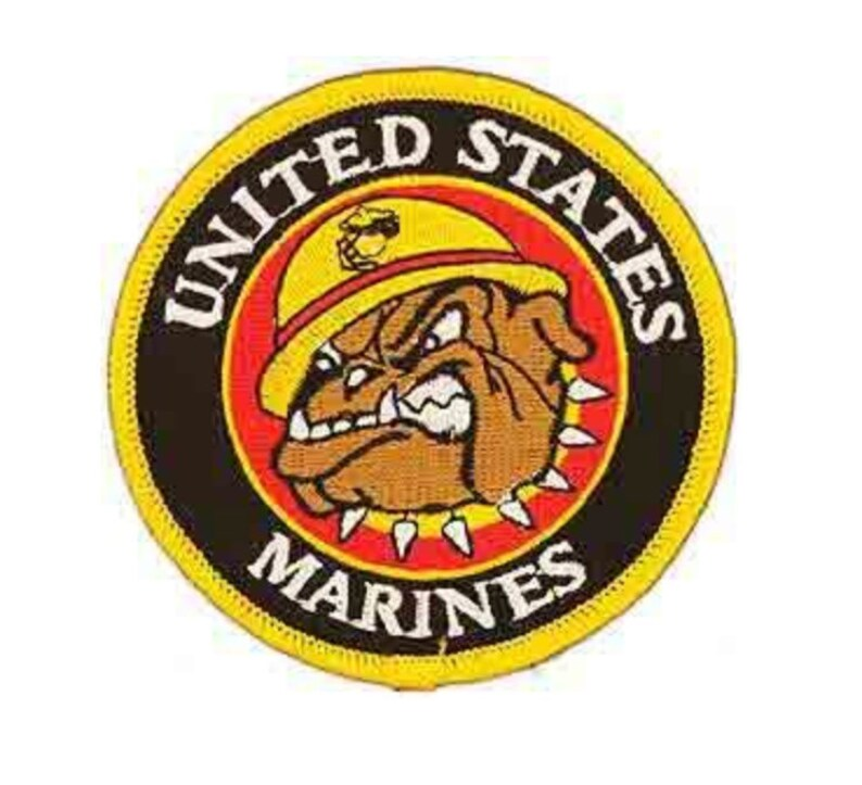 """Marine Corps Bulldog Iron On Patch 3/"""" PM0066 Licensed by Eagle Emblems"""
