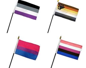"""4"""" x 6"""" Pride Hand Flags LGBTQ Pride Flag Lesbian Gay Pride Parade Hand Held Desk Flag"""