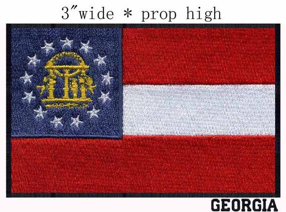 Medium State of Georgia Flag Iron On Patch 3 x 2 inch Free Shipping