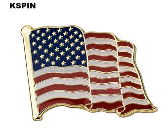 United States USA Flag Lapel Pin 18 x 21mm Hat Tie Tack Badge Pin