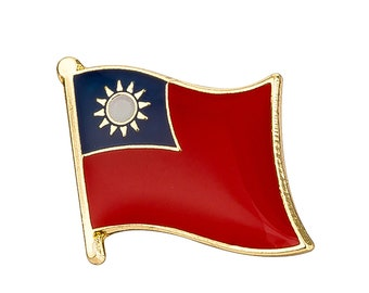 Taiwan Flag Lapel Pin 19 x 16mm Hat Tie Tack Badge Pin