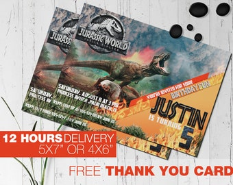 Jurassic World Fallen Kingdom T Rex Personalized Birthday Party Invitation Printable Digital File