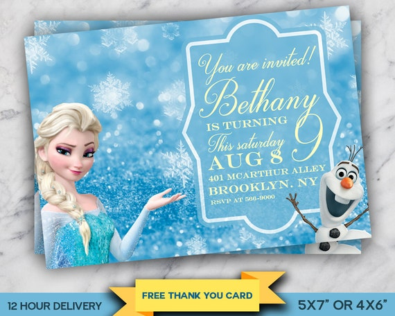 graphic regarding Frozen Invitations Printable titled Frozen Invitation, Elsa Invitation, Olaf Invite, Tailored Birthday Celebration Invitation, Printable Electronic Record, Cost-free Thank On your own Card
