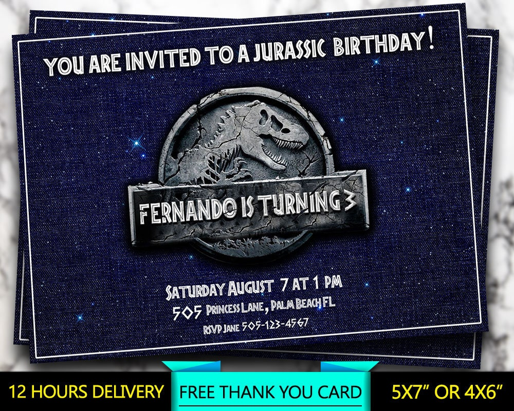 Jurassic Invitation, Jurassic Logo Invite, Jurassic Park Logo, Dinosaur,  Personalized Birthday Party Invitation, Printable Digital File