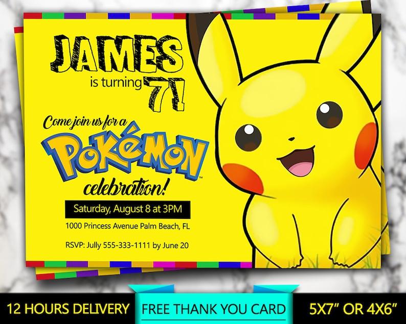 Pokemon Invitation Yellow Invite Personalized