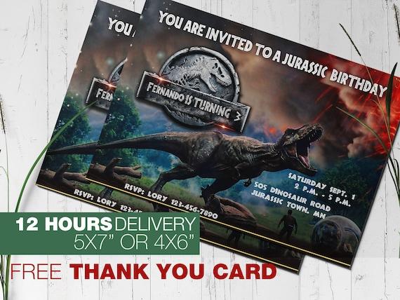 T Rex Invitation Jurassic World Fallen Kingdom Etsy