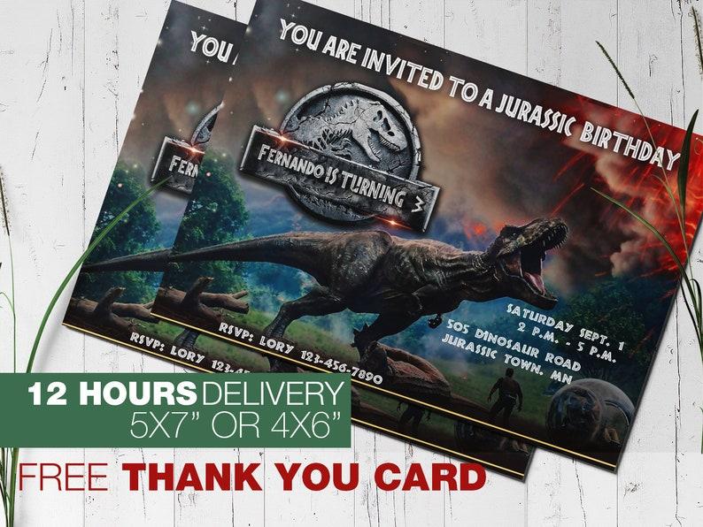 T Rex Invitation Jurassic World Fallen Kingdom Park Personalized Birthday Party Printable Digital