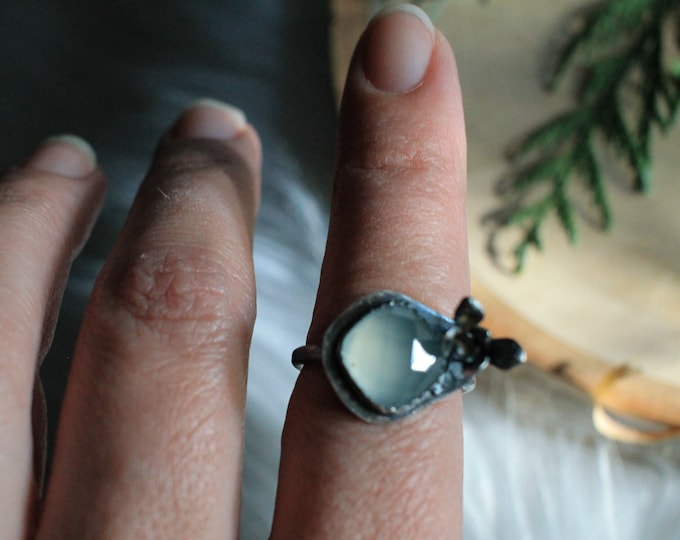 Light Blue Chalcedony & Succulent Ring Sz 7.75