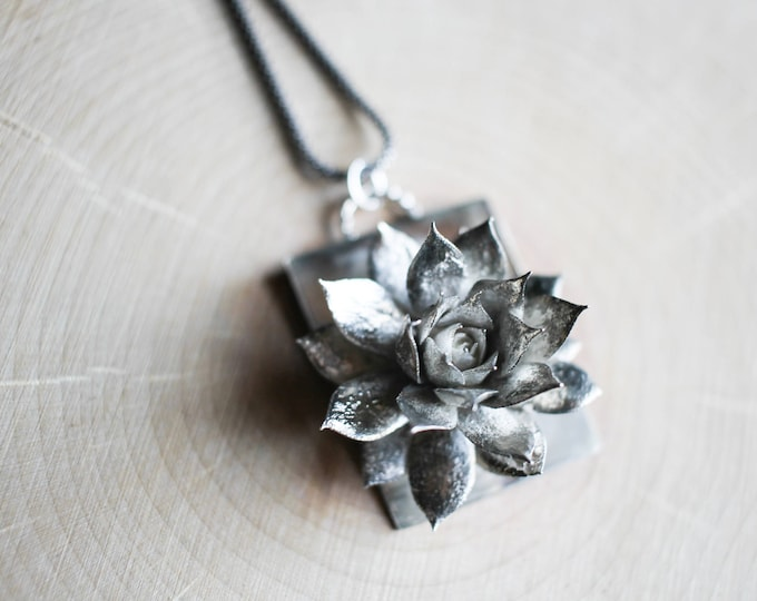Cast Sterling Silver Succulent Necklace