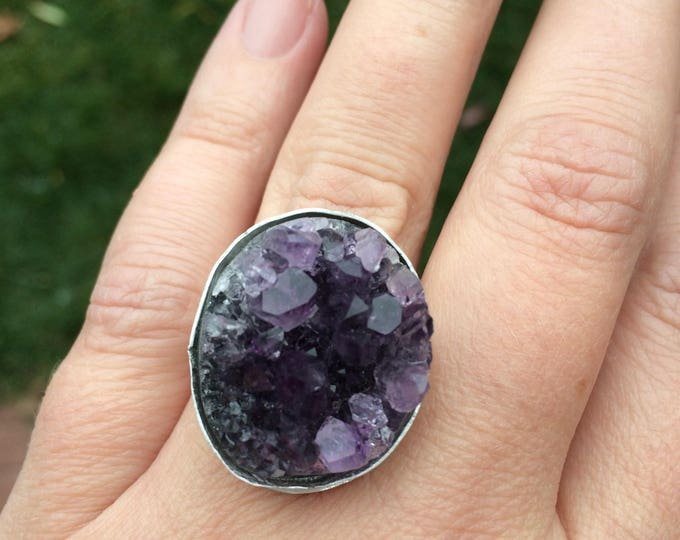 Amethyst and Sterling Silver Ring, Crystal Ring, Ring size 7.5
