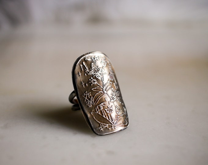 Floral Etched Sterling Ring, Size 7 3/4