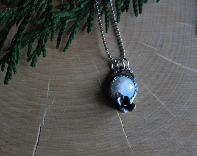 Raw Moonstone and cast Succulent Necklace