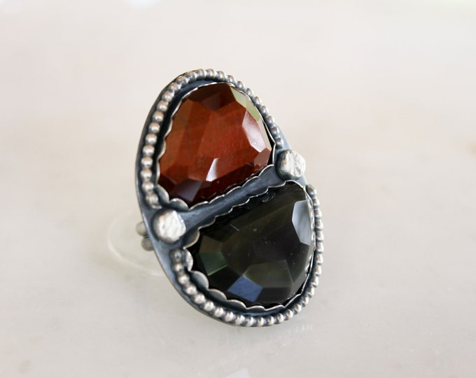 Red Tiger Eye & Rainbow Obsidian Ring size 9 3/4