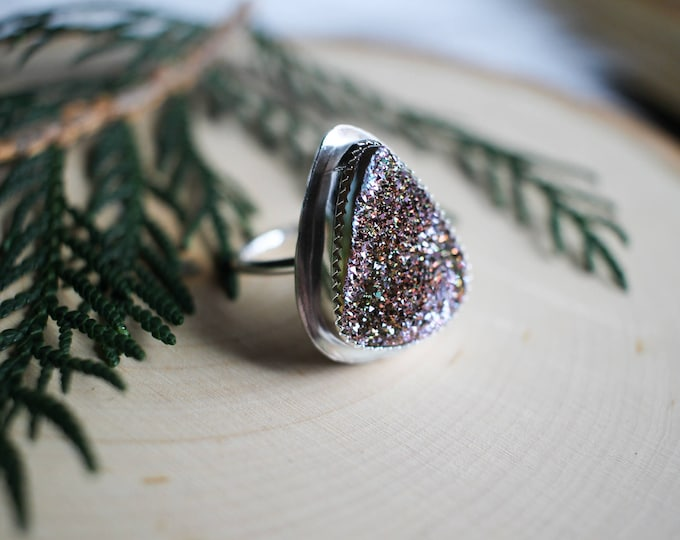 Titainium Drusy Sterling Silver Ring, womens ring size 8