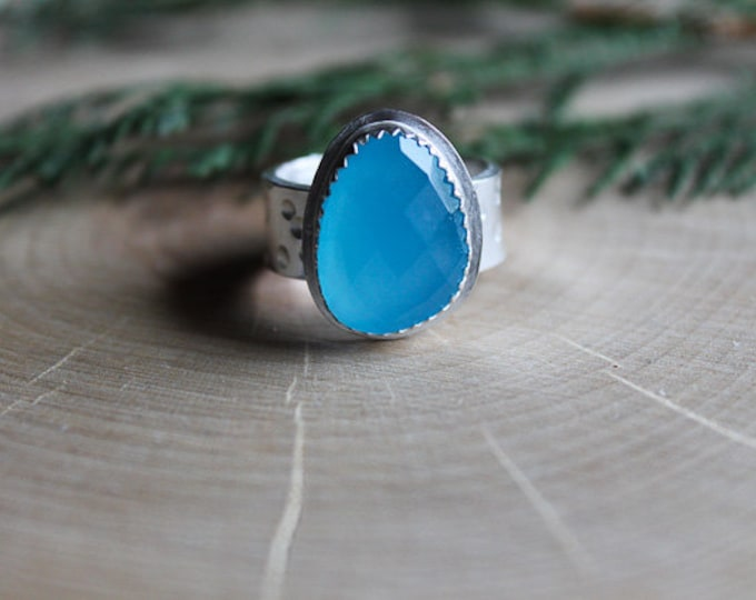 Size 6.75 Blue Chalcedony Ring