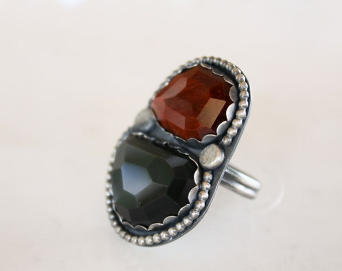 Red Tiger Eye & Rainbow Obsidian Ring size 12 3/4