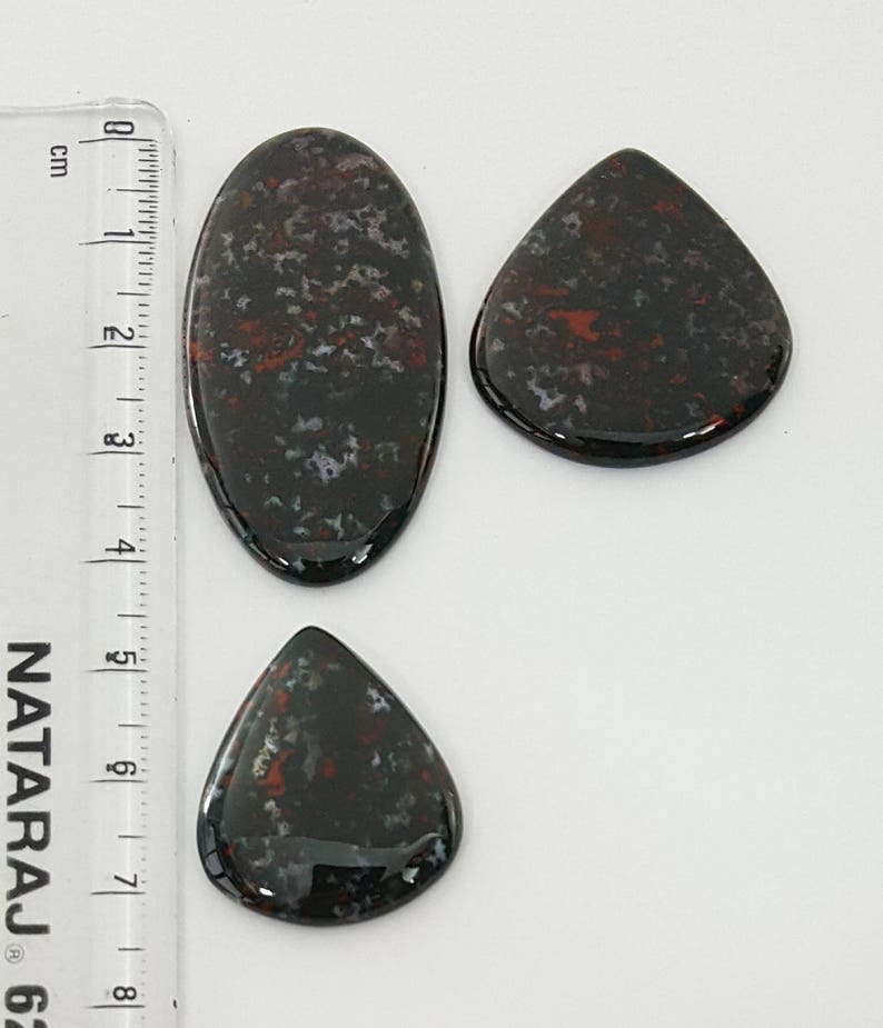3 pcs Lot of Agate Blood Stone