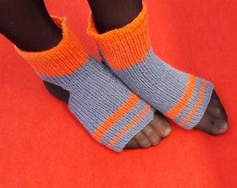 Hand knitted yoga socks Handmade socks Athletic socks Dance socks Light blue yoga socks Flip flop socks