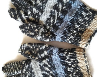 Hand knitted gloves Hand warmers Wool gloves Blue gloves Gray gloves Warm gloves