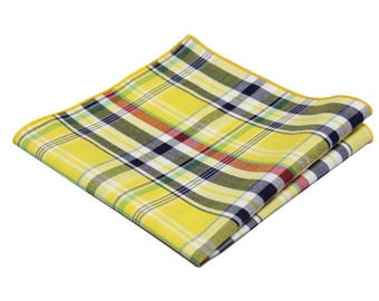 Yellow Madras Pocket Square.100% Cotton Yellow Madras Plaid Handkerchief.Check Hankies.Wedding Hankies.Gift Set.