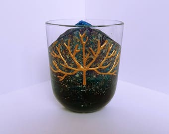 Gold Tree Cut-out Glass Candleholder