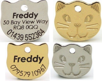 22mm Cat Face Shaped Pet Tag - Gold or Silver