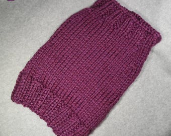 SALE- Last One! - Heavy Weight Soft Plum Sweater, Ribbing Neck, Bottom, Underside, Size Large, Hand Knit, Terrier, Corgi, Dorkie, Bull Dog