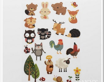 TheFabriqBoutique-Vinyl Iron On Heat Transfer Vinyl Forest Animals Baby Shower