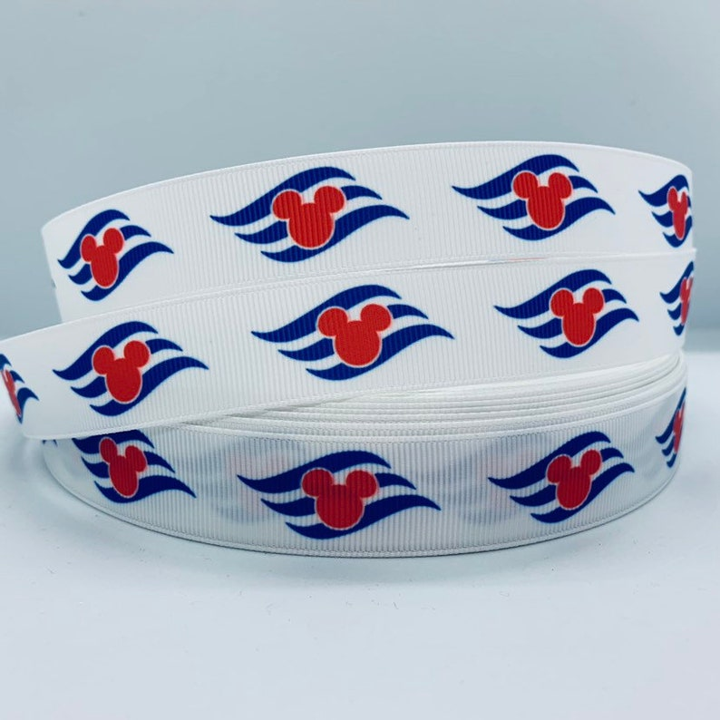 "Sail Mouse Cruise line 1/"" wide grosgrain ribbon the listing is for 5 yards"