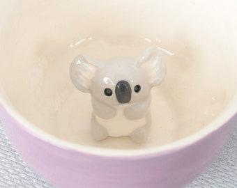 Mug ceramic purple tea cup with gray koala - tiled bear cub animal figurine miniature