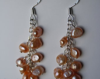 Sterling Silver Earring freshwater pearl cluster sterling silver 925 - baroque pearl