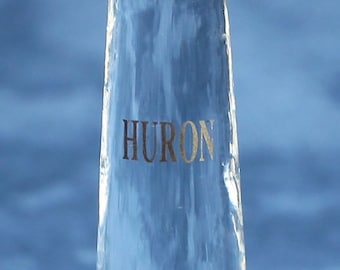 Lake Huron hand crafted glass lighthouse containing the actual beach sand from Lake Huron.