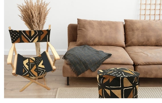 African Fabric Pouf, Authentic Brown and Black Mudcloth Ottoman,  Geometric Ottoman for Men and Women