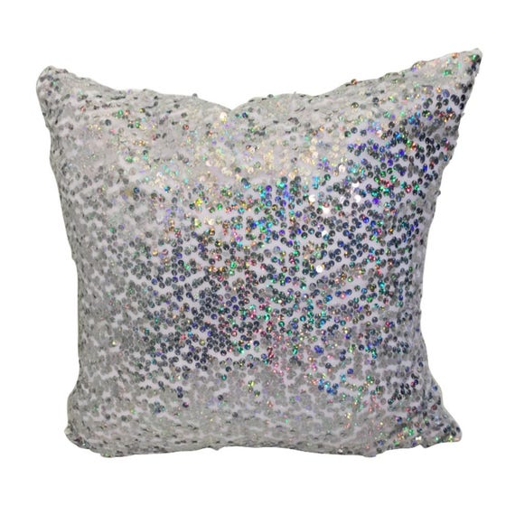 Sequin Pillow Cover, LINED White Pillow with Sequins,  Glam  Pillow Covers, White Pillow