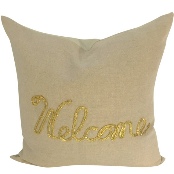 Taupe Linen Pillow Cover, Pillow Cover with Welcome, Neutral Sofa Pillow Couch