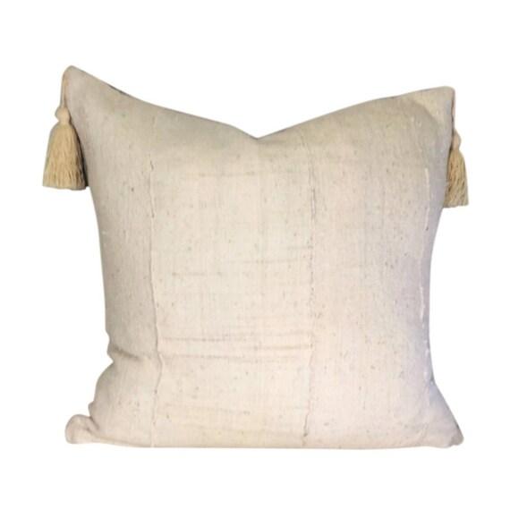 White Boho Pillow Cover, White Mud Cloth Pillow,  Tassels Optional