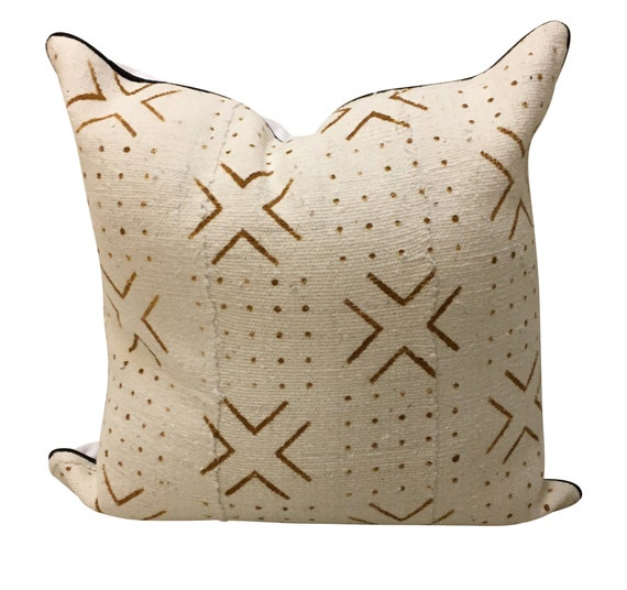 Brown Geometric Pillow, Brown Mud Cloth Pillow, Boho Pillow, Light Brown Pillow