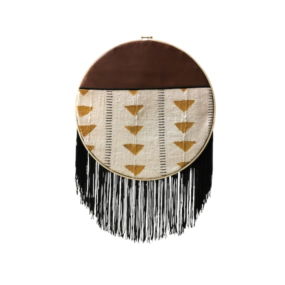 Geometric Wall Hanging, African Dream Catcher, Leather Wall Art, Modern Boho Art, Mud Cloth Home Décor, Round Wall Hanging