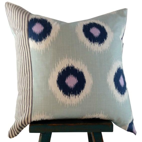 Blue Ikat Pillow Cover,  Farmhouse Pillow, Boho Fabric Pillow, Blue 16x16 Cover, Blue, 18x18 Cover,Blue 20x20 Cover