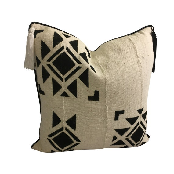 Black and White Boho Pillow Cover, African Mudcloth Pillow, Native Indian Pillow
