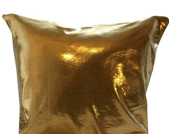 Gold Metallic Pillow Cover for Sofa or Couch in 16, 18 or 20 Inches