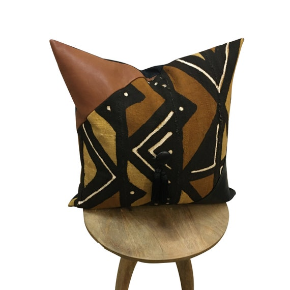 Earth Tone Mudcloth Pillow ,Handwoven Brown Mudcloth Pillow, Leather Pillow, Geometric Brown Pillow