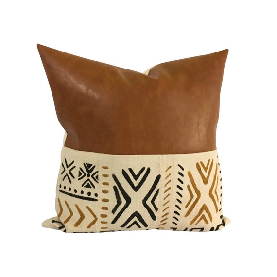 Brown Faux Leather Pillow Cover, Mudcloth and Vegan Leather Pillow, Black and Brown Mud Cloth, Faux Leather Pillow