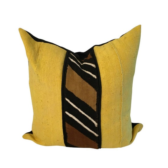 Yellow Mud Cloth Pillow Cover, Brown and Yellow Throw Pillow, Authentic Mudcloth, African Fabric Pillow