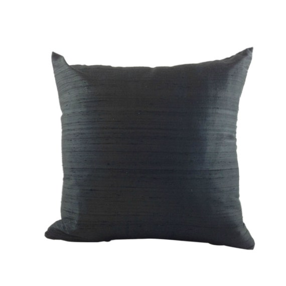 Black SILK Pillow LINED Cover, Indian Silk Sofa Pillow, Designer Throw Pillow