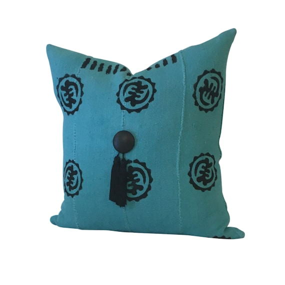 African Print Pillow Cover, Blue Tassel Pillow, Blue and Black Pillow, Mud Cloth Pillow, Pillow with Symbols