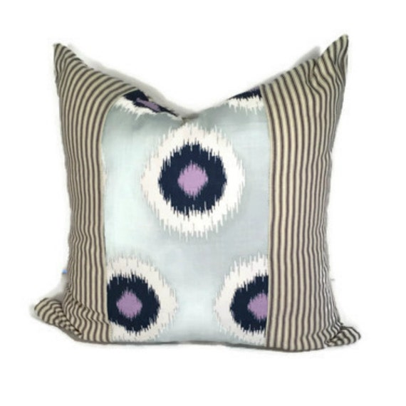 Blue and White Ikat Throw Pillow Cover, Abstract Pillow in 16x16,18x18, 20x20